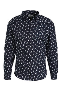 C&A Angelo Litrico slim fit overhemd met all over print donkerblauw, Donkerblauw