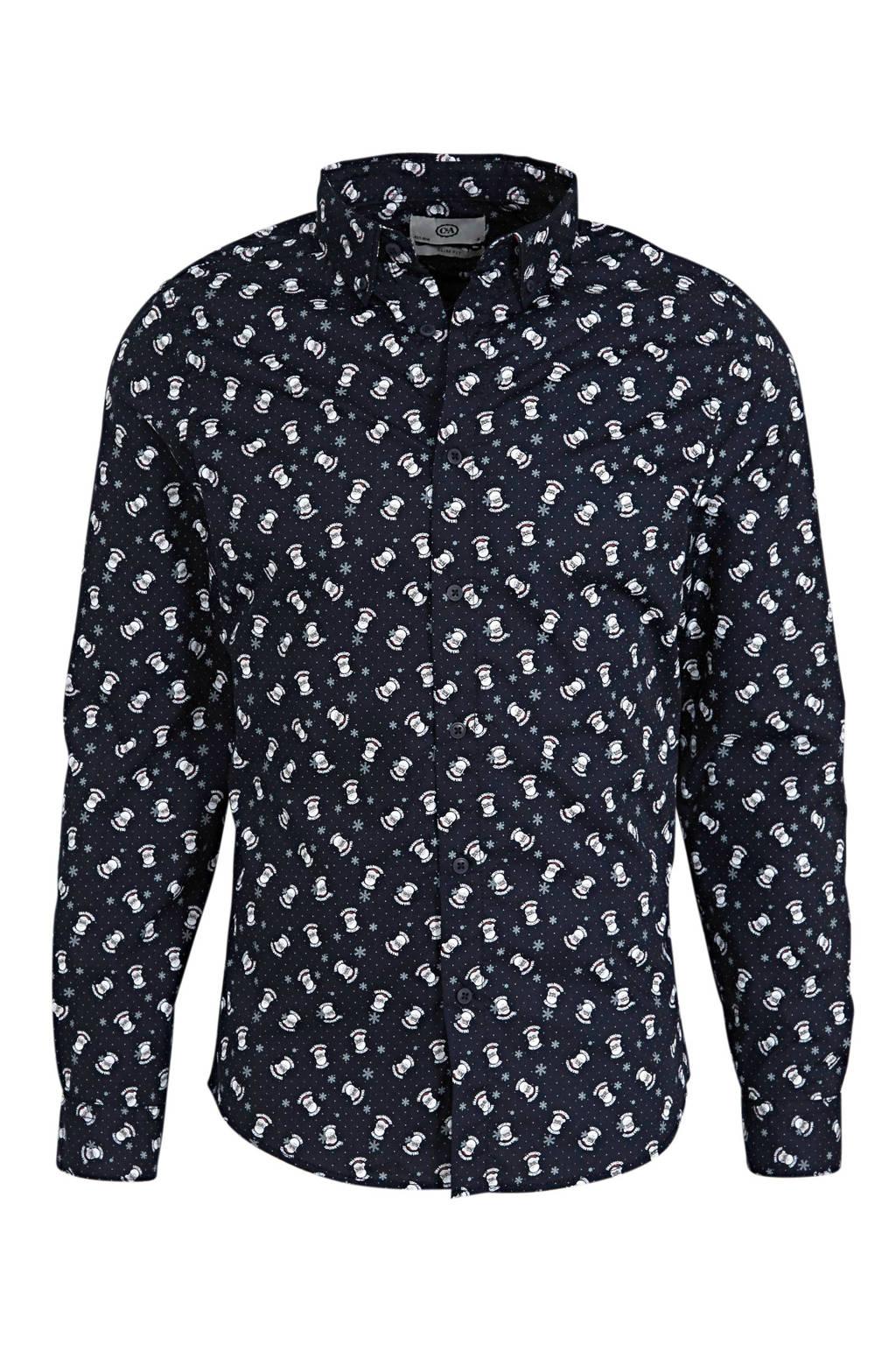 C&A Angelo Litrico slim fit overhemd met kerst print donkerblauw, Donkerblauw