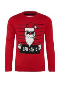 C&A Here & There kersttrui met printopdruk rood/wit/zwart, Rood/wit/zwart