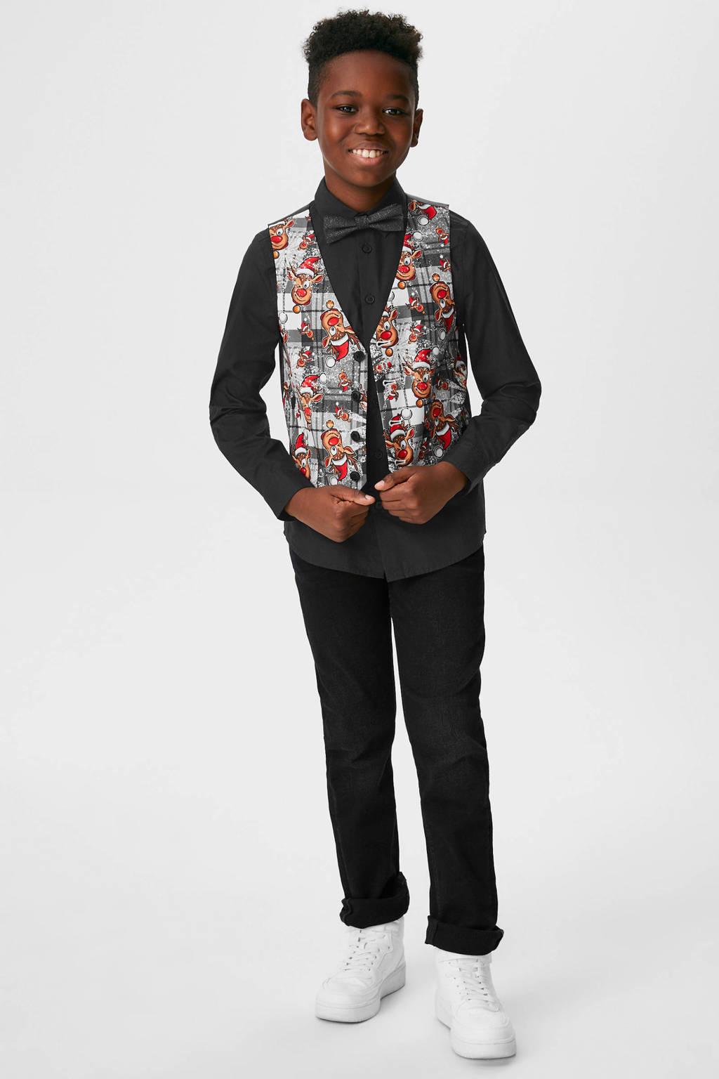 C&A Palomino overhemd met strik zwart, Zwart