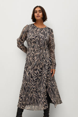 semi-transparante jurk met all over print lichtroze/ grijs