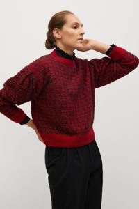 Mango gebreide trui met wol en pied-de-poule rood/ zwart