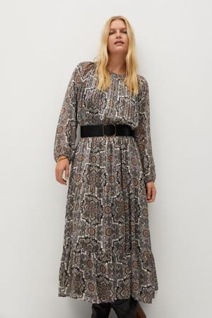 semi-transparante maxi A-lijn jurk met all over print en glitters grijs