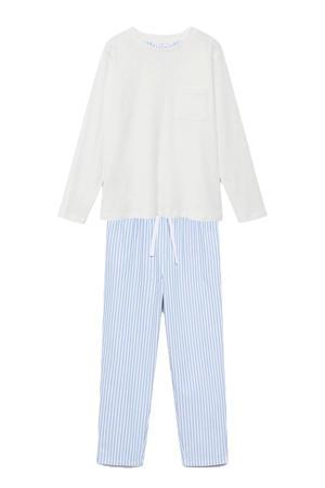 pyjama met gestreepte broek blauw/wit