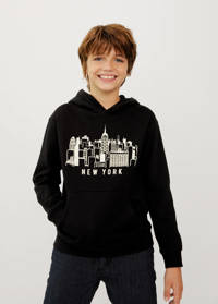 Mango Kids hoodie met printopdruk zwart/wit, Zwart/wit