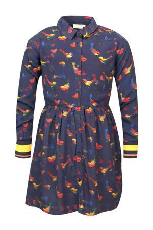 blousejurk Sophie met all over print en plooien donkerblauw/rood/geel