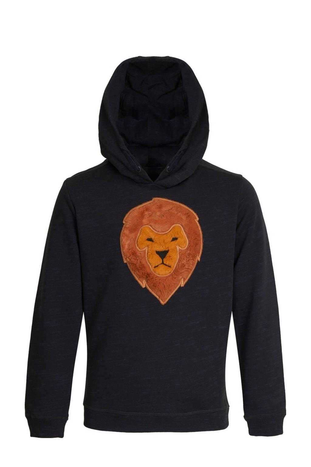 Someone hoodie Raw met printopdruk en 3D applicatie donkerblauw/cognac, Donkerblauw/Cognac