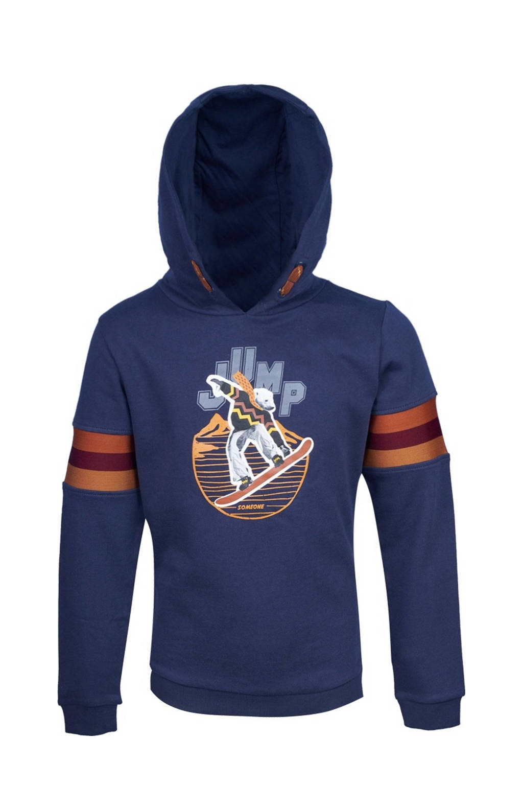 Someone hoodie Icebear met printopdruk donkerblauw/oranje, Donkerblauw/oranje