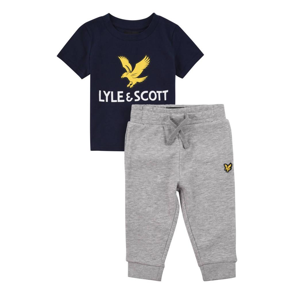 Lyle & Scott T-shirt + joggingbroek grijs melange/zwart/geel, Donkerblauw/grijs melange/geel