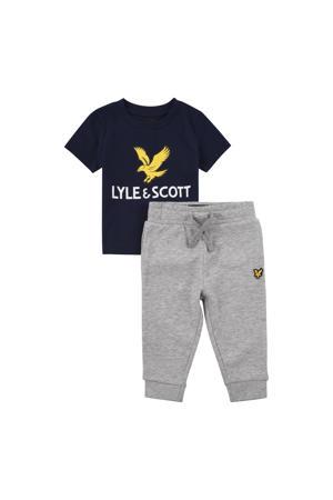 T-shirt + joggingbroek grijs melange/zwart/geel