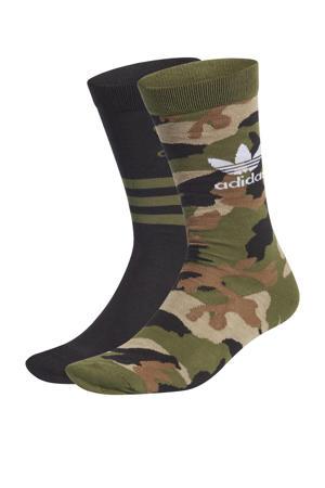 Adicolor sokken set van 2 kaki/zwart