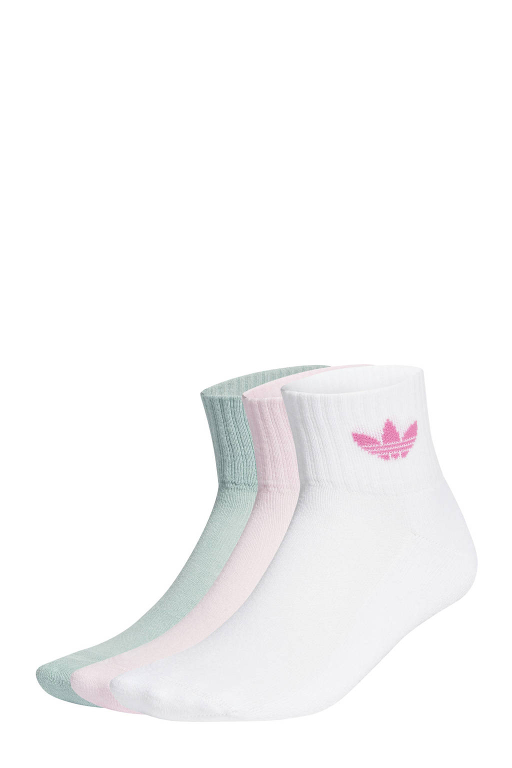 adidas Originals Adicolor sokken - set van 3 wit/roze/mintgroen, Wit/roze/mintgroen