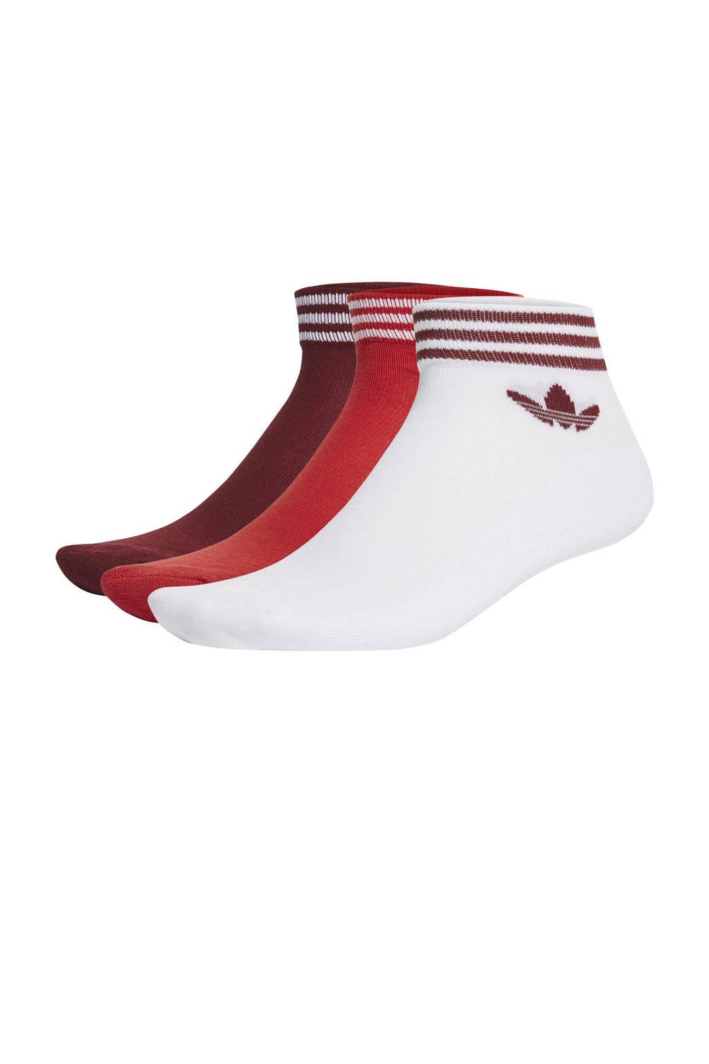 adidas Originals Adicolor sokken - set van 3 wit/rood/donkerrood, Wit/rood/donkerrood