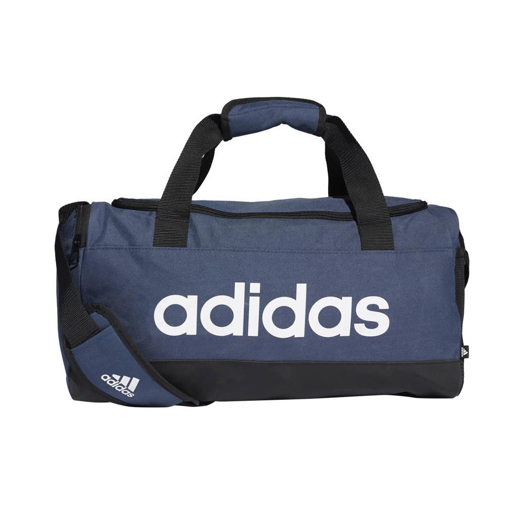 adidas Performance   sporttas Linear Duffel S donkerblauw/zwart/wit, Donkerblauw/zwart/wit