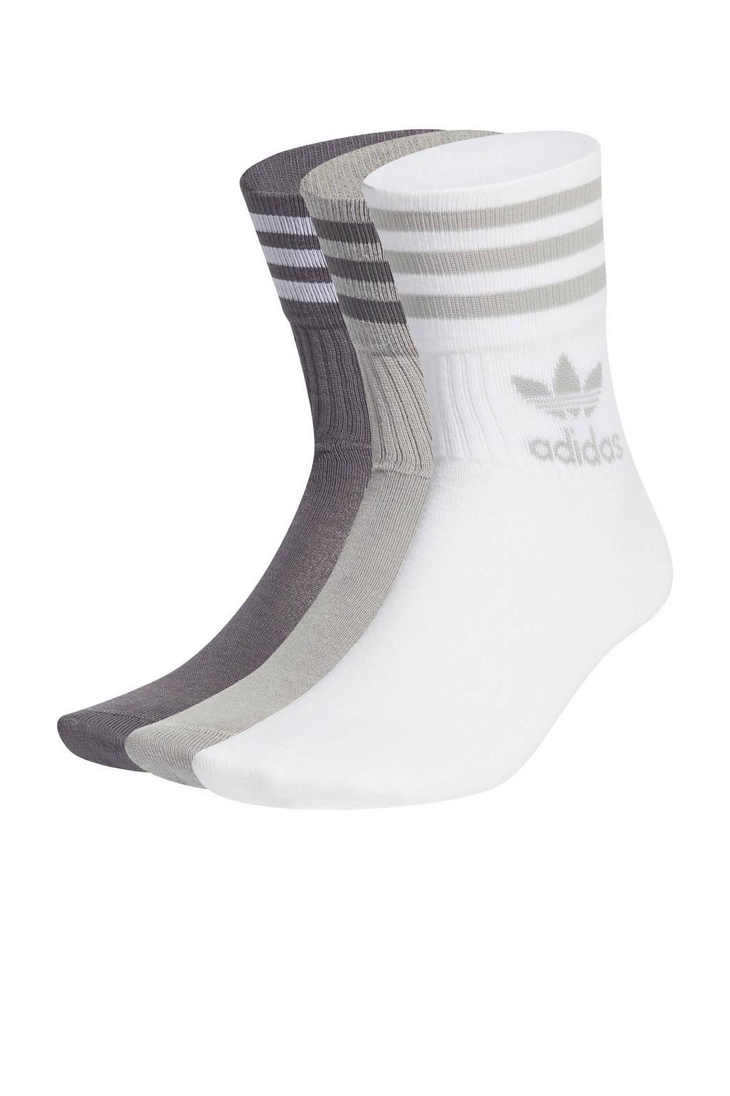 adidas Originals Adicolor sokken - set van 3 wit/grijs, Wit/grijs