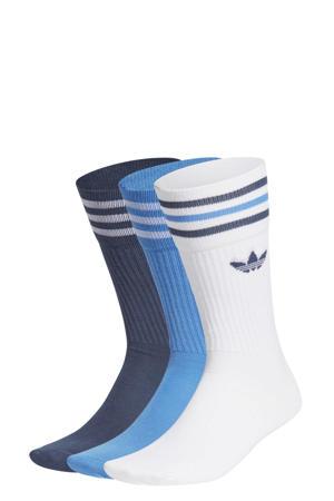 Adicolor sokken set van 3 wit/blauw/donkerblauw