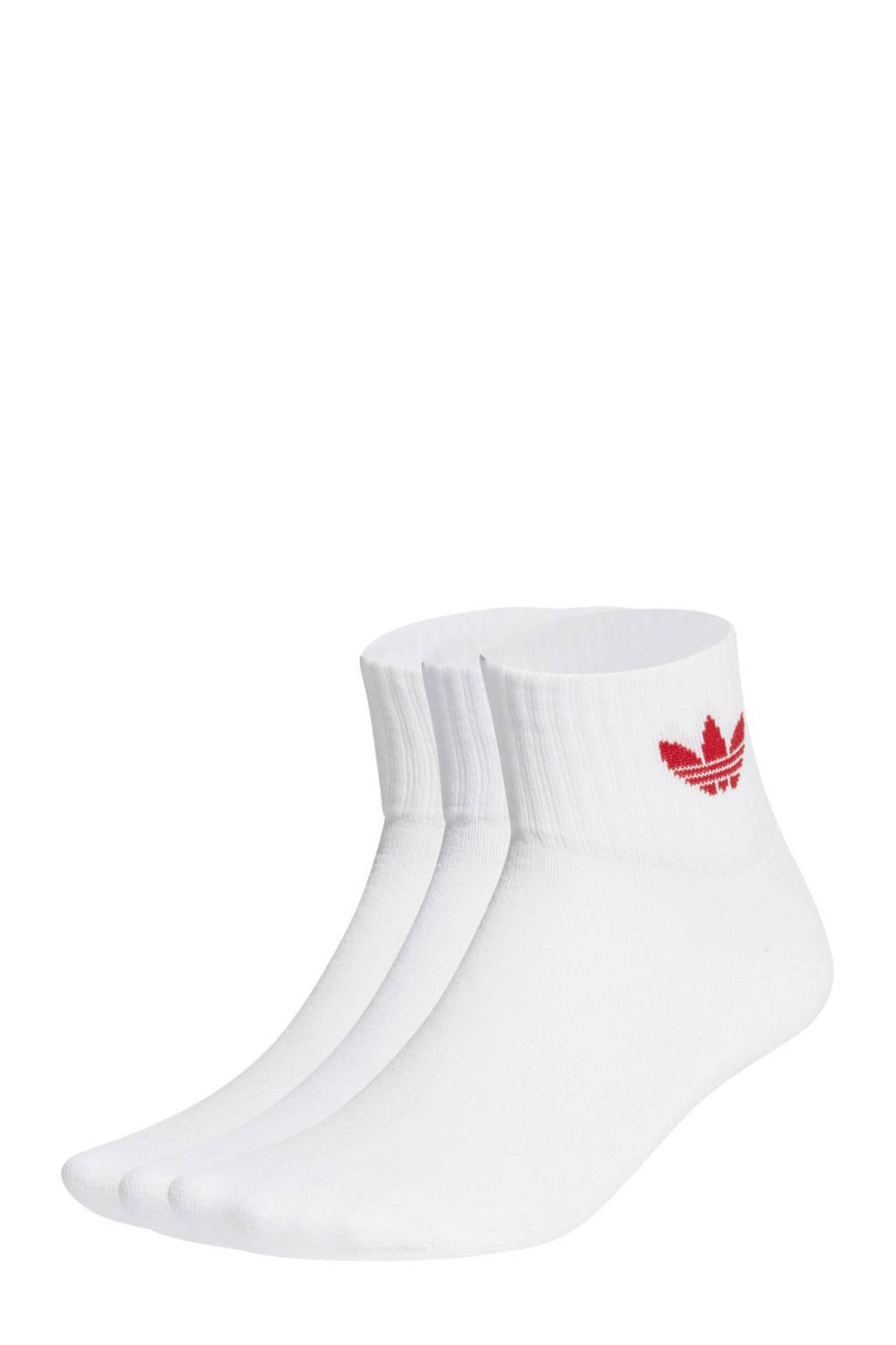 adidas Originals Adicolor sokken set van 3 wit, Wit/rood