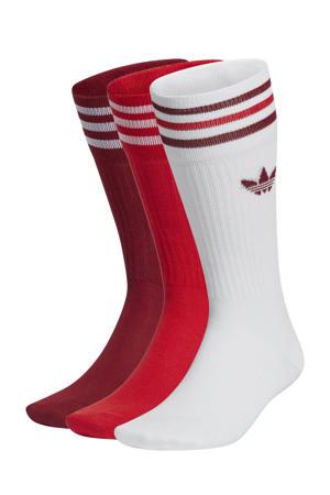 Adicolor sokken set van 3 wit/donkerrood/rood