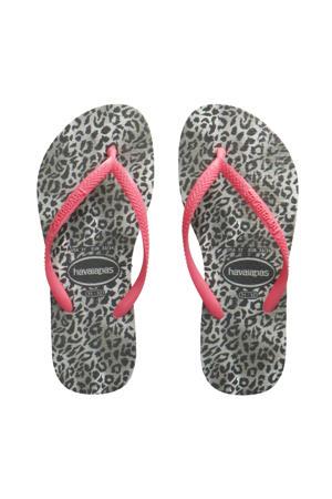 Slim Animals  teenslippers met panterprint roze/grijs