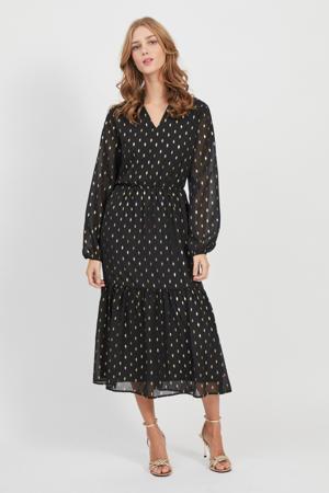 maxi jurk met stippen en glitters zwart