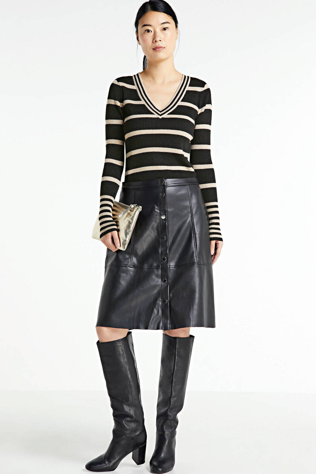 VILA gestreepte trui van gerecycled polyester zwart, Zwart