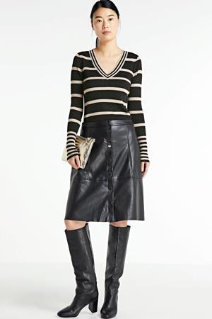 gestreepte trui van gerecycled polyester zwart