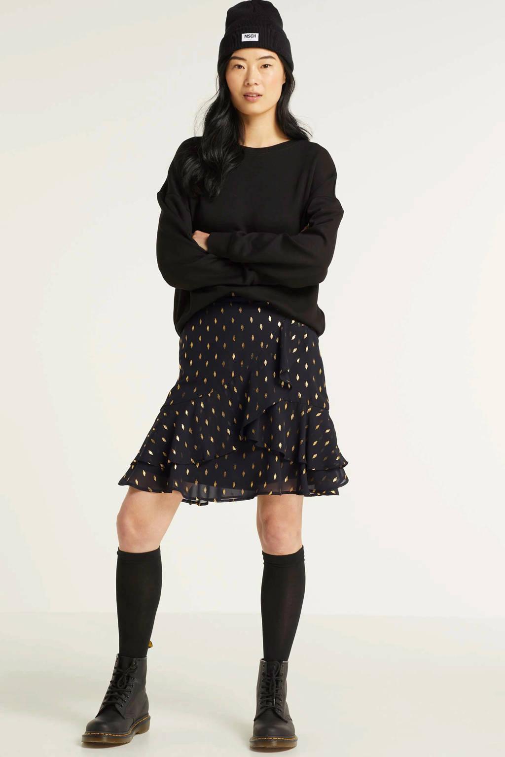 VILA rok met stippen zwart, Zwart