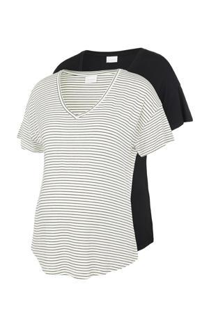 T-shirt - set van 2 Alison wit/zwart