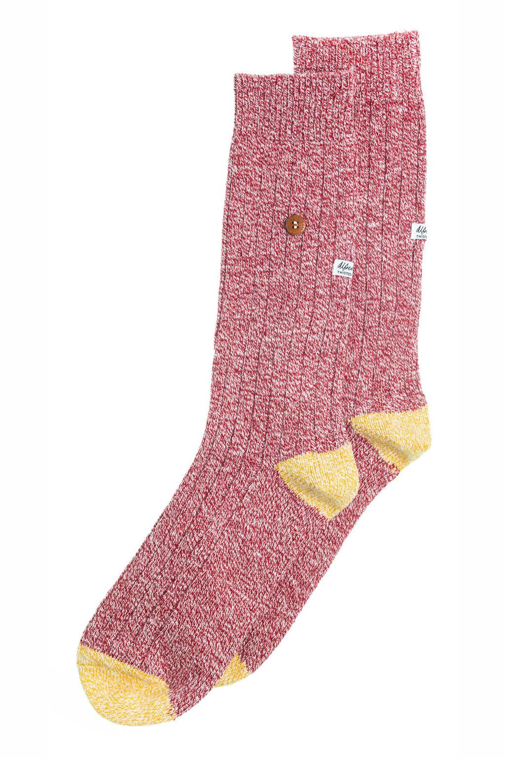 Alfredo Gonzales sokken Twisted Wool rood, Rood/geel