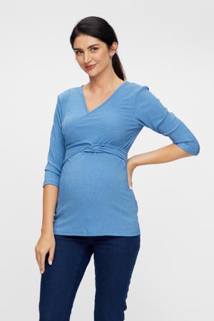overslag zwangerschaps- en voedingstop Alvira van gerecycled polyester blauw