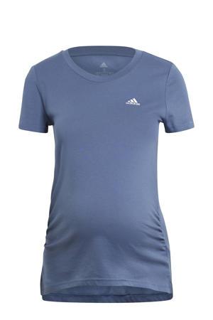 zwangerschaps sport T-shirt kobaltblauw/wit