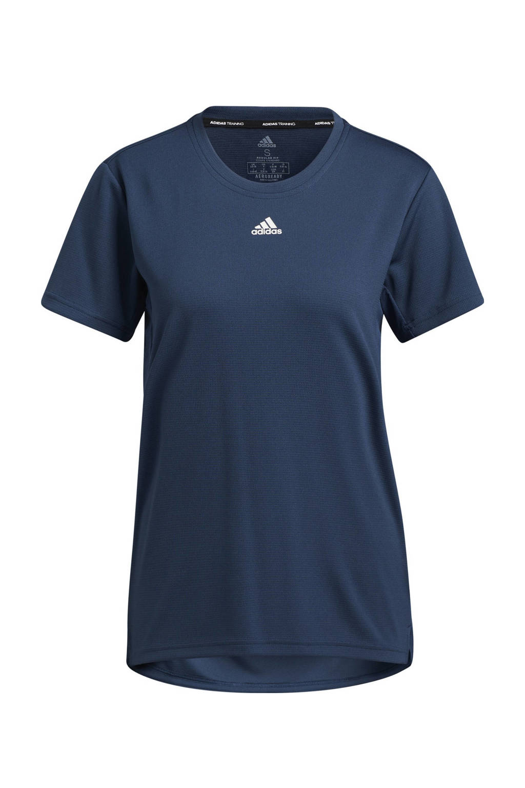 adidas Performance Necessi-Tee Designed4Training sport T-shirt donkerblauw/wit, Donkerblauw/wit