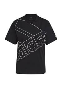 adidas Performance oversized logo sport T-shirt zwart/wit, Zwart/wit