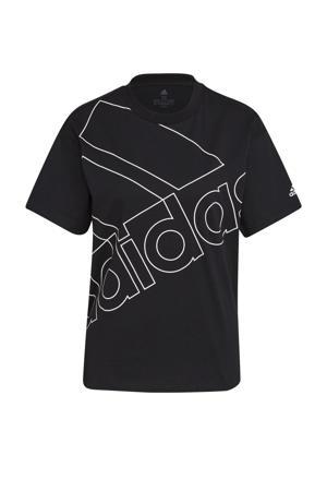 oversized logo sport T-shirt zwart/wit
