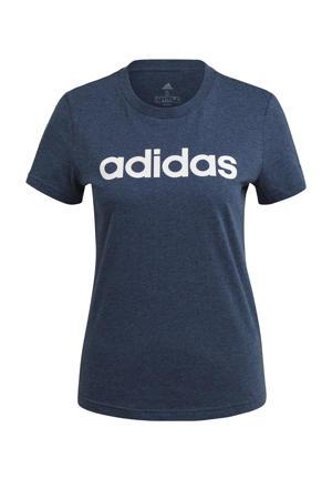 sport T-shirt donkerblauw/wit