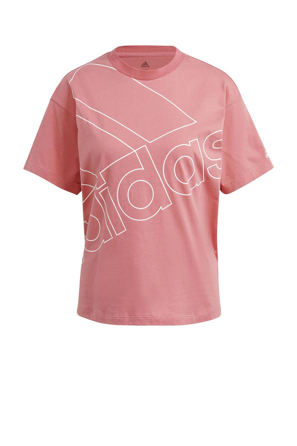 adidas Performance oversized logo sport T-shirt roze/wit, Roze/wit