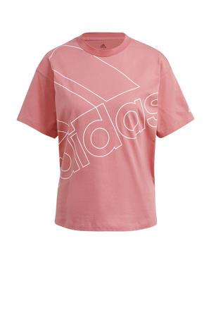 oversized logo sport T-shirt roze/wit