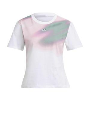 T-shirt wit/roze/groen