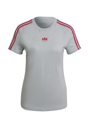 Adicolor T-shirt grijsblauw/roze