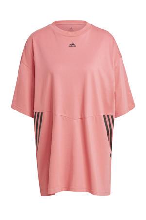 oversized sport T-shirt roze/zwart