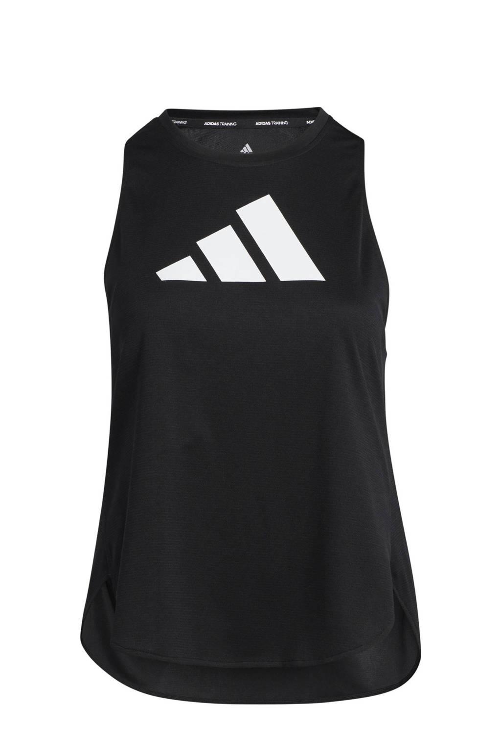 adidas Performance Plus Size Designed4Training sporttop zwart/wit, Zwart/wit