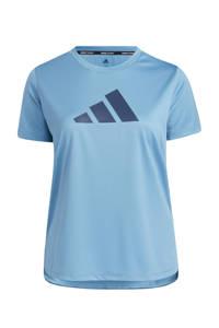 adidas Performance Plus Size sport T-shirt lichtblauw, Lichtblauw