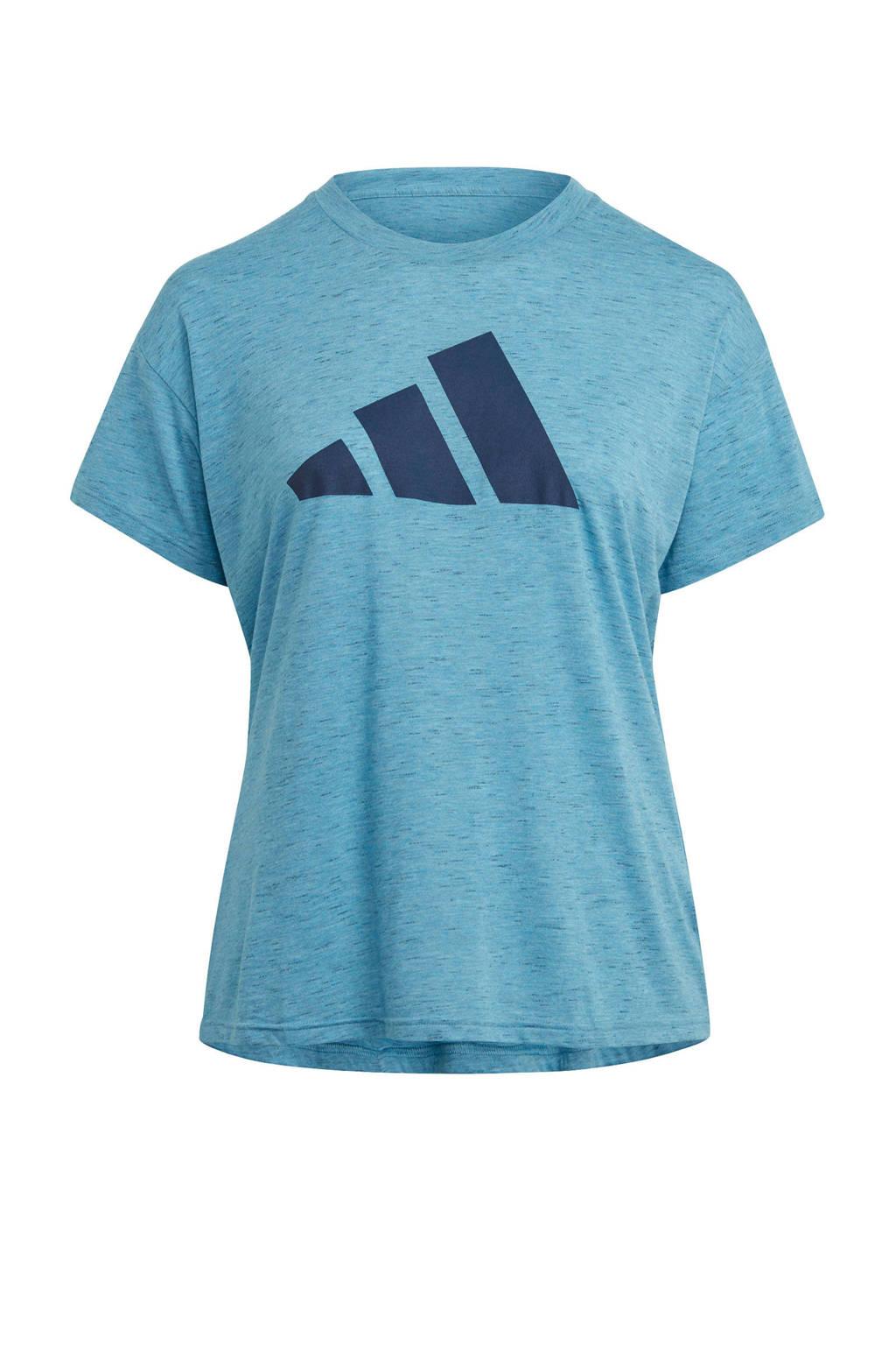 adidas Performance Plus Size 2.0 Sportwear sport T-shirt blauw, Blauw