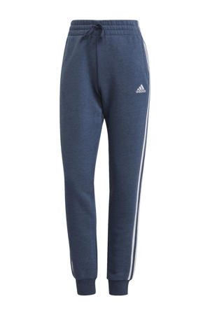 fleece sportbroek donkerblauw/wit