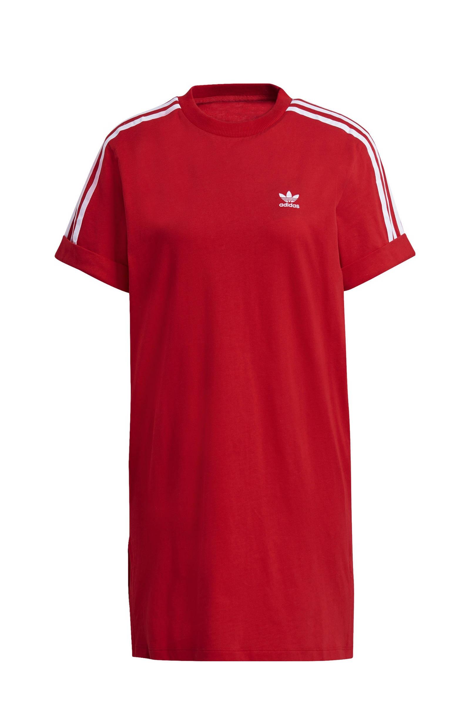 Adidas Originals adicolor T-shirtjurk met 3-Stripes in rood online kopen