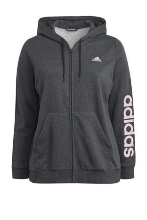 Plus Size sportvest grijs/lichtroze