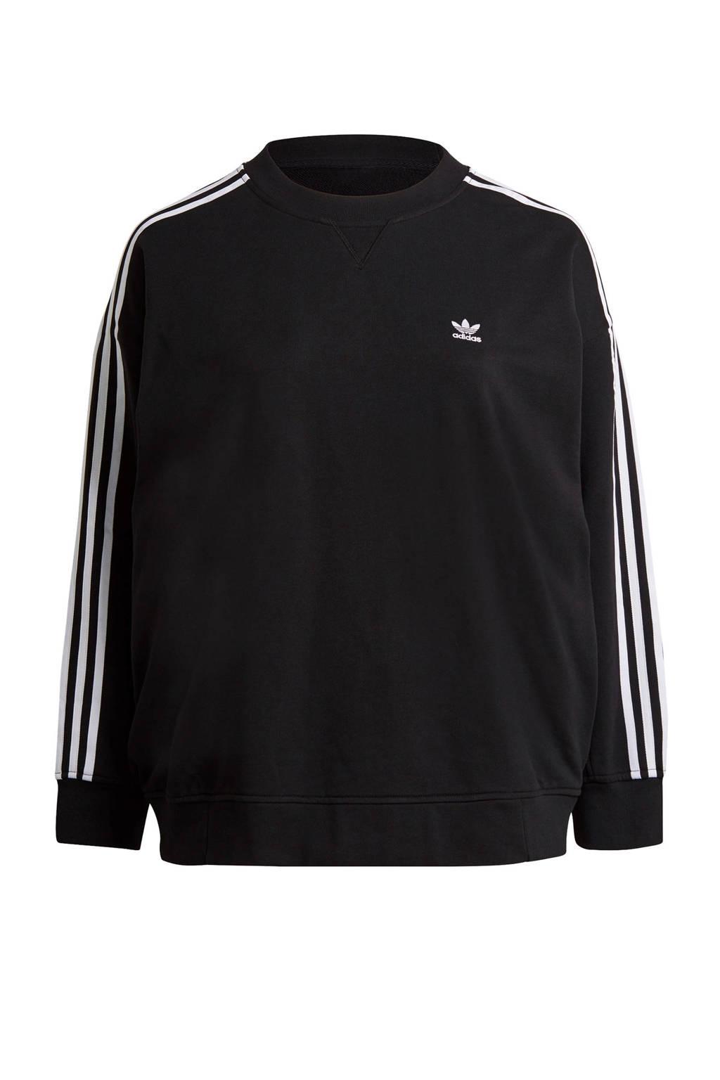adidas Originals Plus Size Adicolor sweater zwart/wit, Zwart/wit