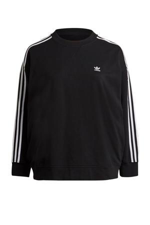 Plus Size Adicolor sweater zwart/wit