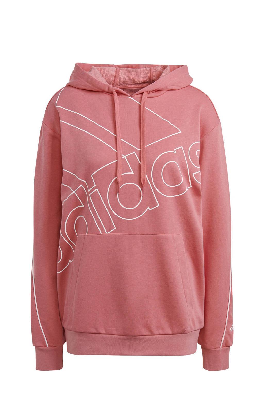 adidas Performance oversized logo sportsweater lichtroze/wit, Lichtroze/wit