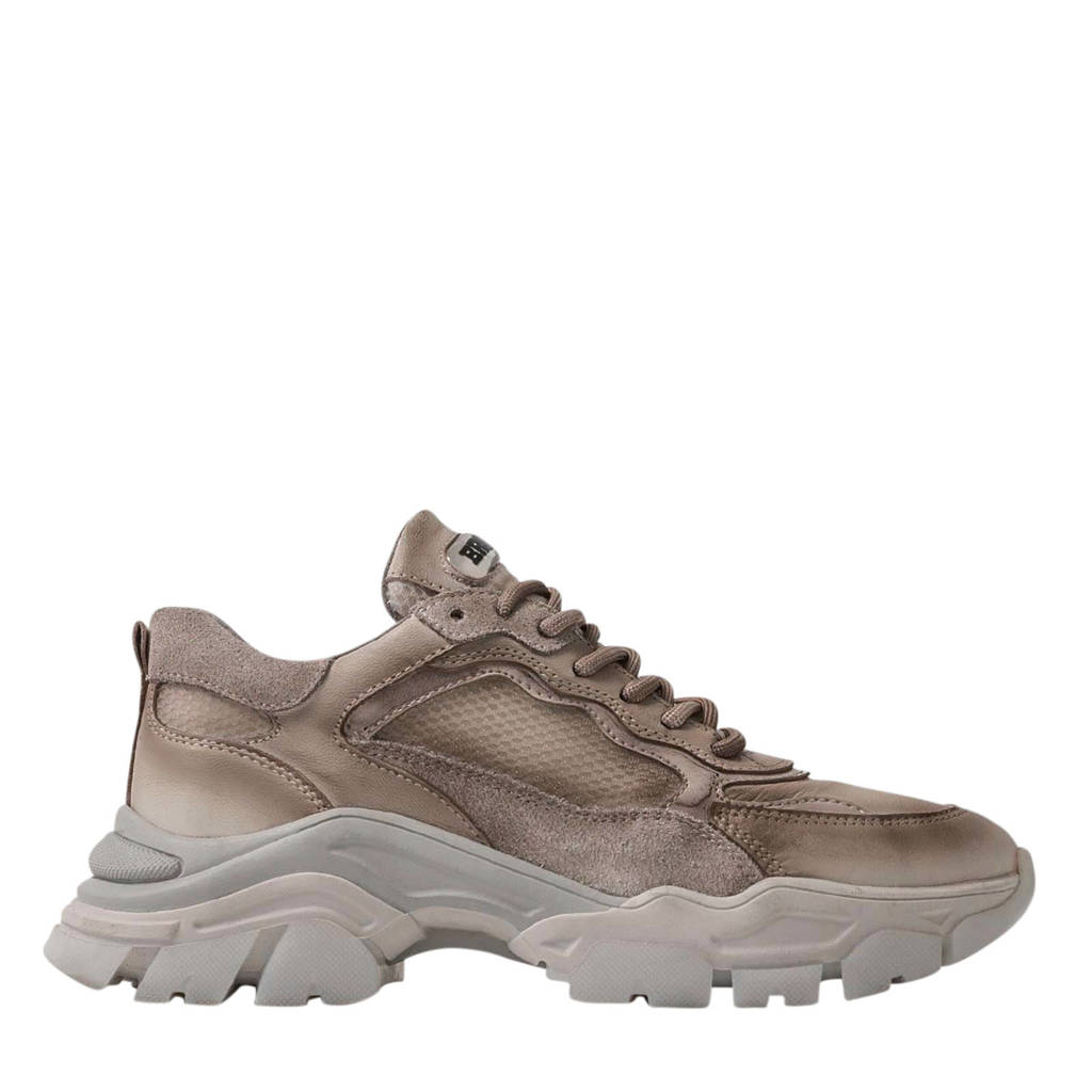 Bronx Tayke-Over  leren chunky sneakers taupe, Taupe